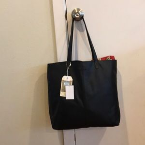 NWT TOMS Black leather tote